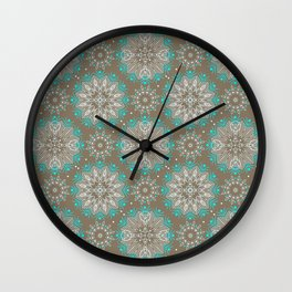 Brown turquoise bling . Wall Clock