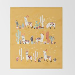 Happy llama with cactus in a pot Throw Blanket