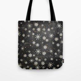 Boho Black Snowflakes Tote Bag
