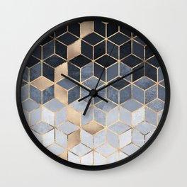 Soft Blue Gradient Cubes Wall Clock