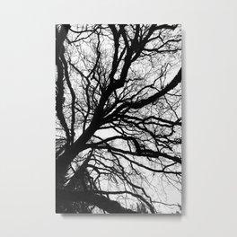 Tree forest wall art, trending minimalist Art, Minimalist, Black and White, Trees simple Metal Print