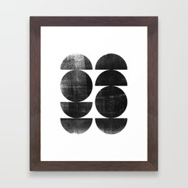 Black and White Mid Century Modern Circles Abstract Framed Art Print