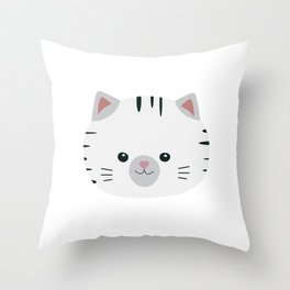 Black and White tiger cat Throw Pillow
