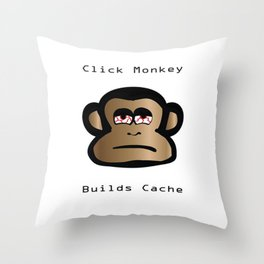 Click Monkey Builds Cache Throw Pillow