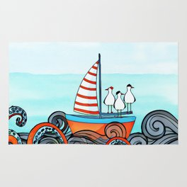 Seagull and little boat Rug