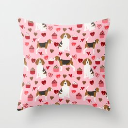 Beagle valentines day dog breed pet portrait dog lovers perfect gift i love you pet portrait Throw Pillow