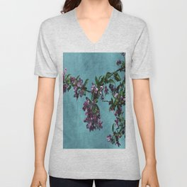 Pink Over Turquoise by CheyAnne Sexton Unisex V-Neck