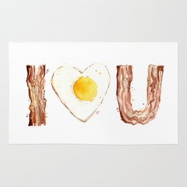 Bacon and Egg LOVE I Heart You Food Lovers Rug