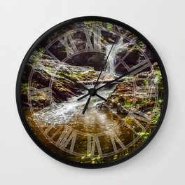 Ducklings swimming at the waterfall Wall Clock