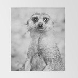 Meerkat portrait Throw Blanket
