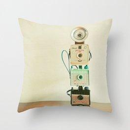 Tower of Cameras Throw Pillow