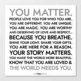 You Matter Poster Canvas Print