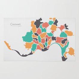 Cincinnati Ohio Map with neighborhoods and modern round shapes Rug