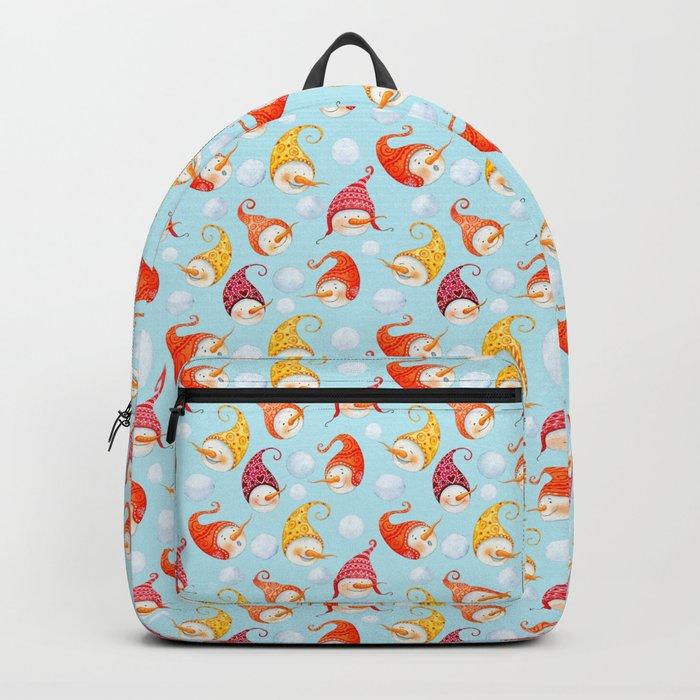 Merry christmas- happy wintertime! Beautiful little snowman pattern Backpack