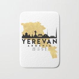YEREVAN ARMENIA SILHOUETTE SKYLINE MAP ART Bath Mat