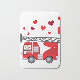 Valentine's Day Firetruck Hearts Gift Kids Boys Bath Mat