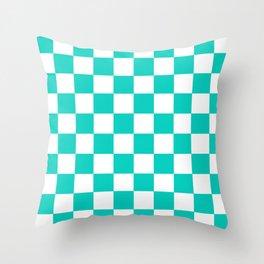 Aqua Blue Checkers Pattern Throw Pillow