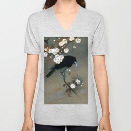 Vintage Japanese Crow and Blossom Woodblock Print Unisex V-Neck