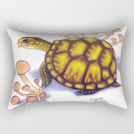 Box Turtle - Peach Mushrooms Rectangular Pillow