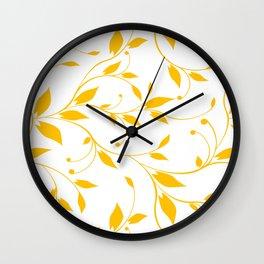 FLOWERY VINES | white yellow Wall Clock