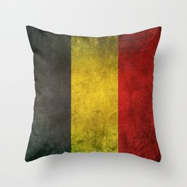 Old and Worn Distressed Vintage Flag of Belgium Throw Pillow