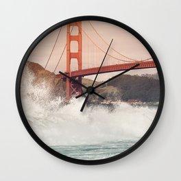 Golden Gate Bridge on a windy day Wall Clock