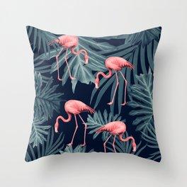 Summer Flamingo Jungle Night Vibes #1 #tropical #decor #art #society6 Throw Pillow