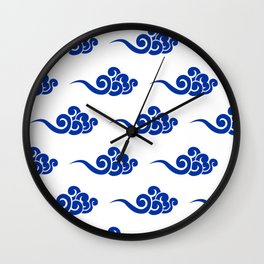 Chinese Wind Symbols in Porcelain Blue and White Wall Clock
