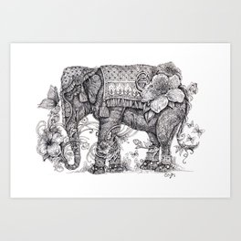 """Anesh the Creative Elephant"" Art Print"