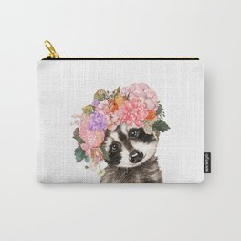 Baby Raccoon with Flowers Crown Carry-All Pouch