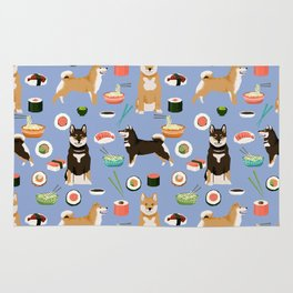 Shiba Inu noodles pho food cute dog art sushi dogs pet portrait pattern Rug