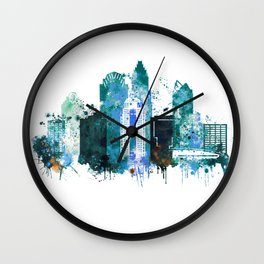 Charlotte Skyline watercolor Wall Clock