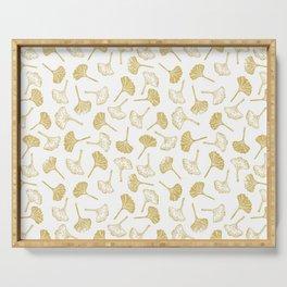 Ginkgo Biloba linocut pattern GLITTER GOLD Serving Tray