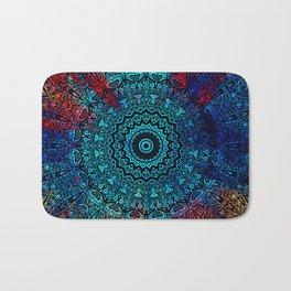 Bohemian Passion Blue & Red Mandala Design Bath Mat