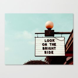 Look on The Bright Side Marquee Sign, Austin Motel, Austin, Texas Canvas Print
