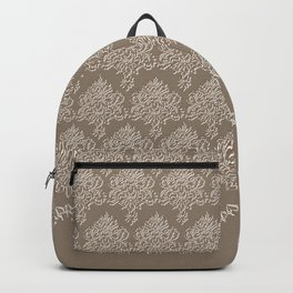 Coffee Color Damask Chenille with Lacy Edge Backpack