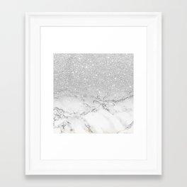 Modern faux grey silver glitter ombre white marble Framed Art Print