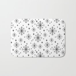 Snowflakes winter christmas minimal holiday black and white decor gifts Bath Mat