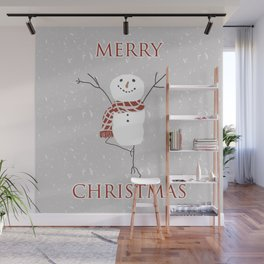 Snowman yoga - the tree Wall Mural