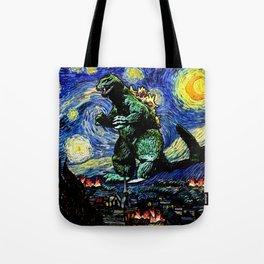 Godzilla versus Starry Night Tote Bag