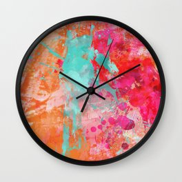 Paint Splatter Turquoise Orange And Pink Wall Clock