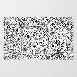 Black on White Florals Rug