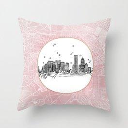 Boston, Massachusetts City Skyline Illustration Drawing Throw Pillow