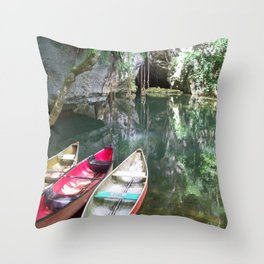 Journey to the Underworld via Belize Cave Throw Pillow