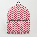 Antique White and Cherry Pink Chevron Stripes by 11penguingirl