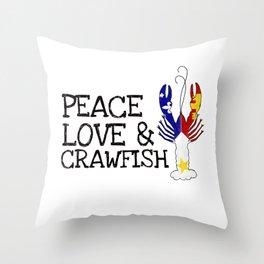 Peace, Love & Crawfish Throw Pillow