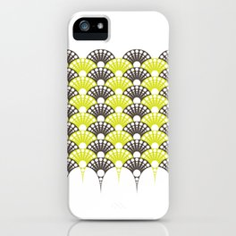 brown and lime art deco inspired fan pattern iPhone Case