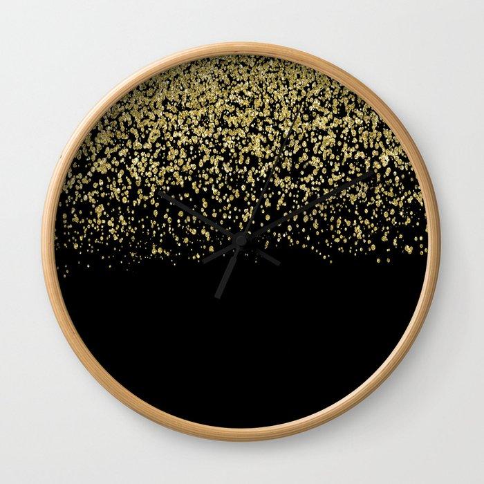 Sparkling gold glitter confetti on black background- Luxury pattern Wall Clock