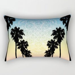 Palm Tree Sunset Mandala Rectangular Pillow