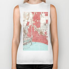 Vintage Map of Long Beach California (1949) 3 Biker Tank